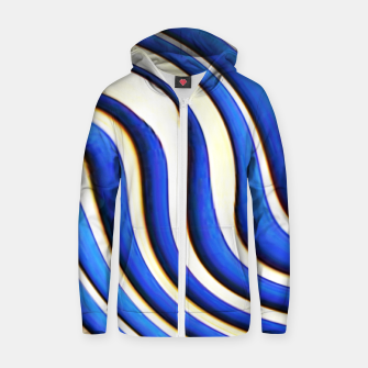 Thumbnail image of blue beige 3d abstract wavy striped pattern Zip up hoodie, Live Heroes