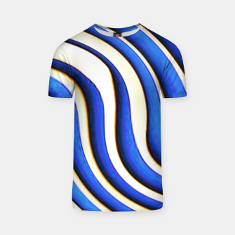 Thumbnail image of blue beige 3d abstract wavy striped pattern T-shirt, Live Heroes