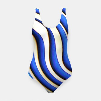 Thumbnail image of blue beige 3d abstract wavy striped pattern Swimsuit, Live Heroes