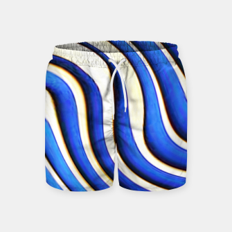 Thumbnail image of blue beige 3d abstract wavy striped pattern Swim Shorts, Live Heroes