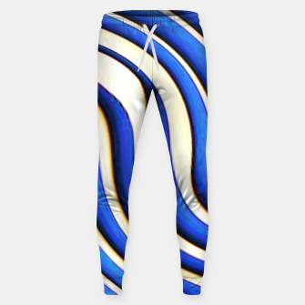 Thumbnail image of blue beige 3d abstract wavy striped pattern Sweatpants, Live Heroes