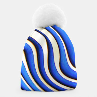 Thumbnail image of blue beige 3d abstract wavy striped pattern Beanie, Live Heroes