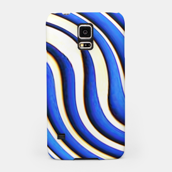 Thumbnail image of blue beige 3d abstract wavy striped pattern Samsung Case, Live Heroes
