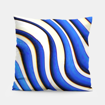 Thumbnail image of blue beige 3d abstract wavy striped pattern Pillow, Live Heroes