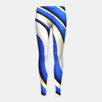 Thumbnail image of blue beige 3d abstract wavy striped pattern Girl's leggings, Live Heroes