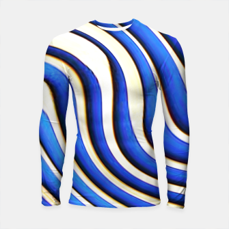 Thumbnail image of blue beige 3d abstract wavy striped pattern Longsleeve rashguard , Live Heroes