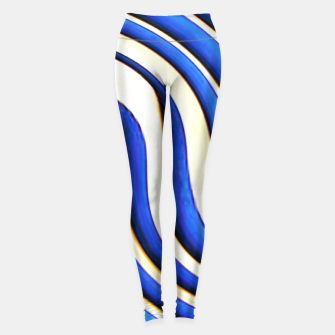 Thumbnail image of blue beige 3d abstract wavy striped pattern Leggings, Live Heroes