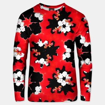 Miniatur red pink black and white floral spring pattern Unisex sweater, Live Heroes