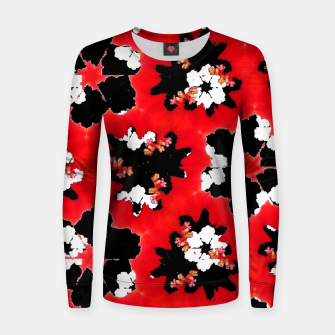 red pink black and white floral spring pattern Women sweater obraz miniatury