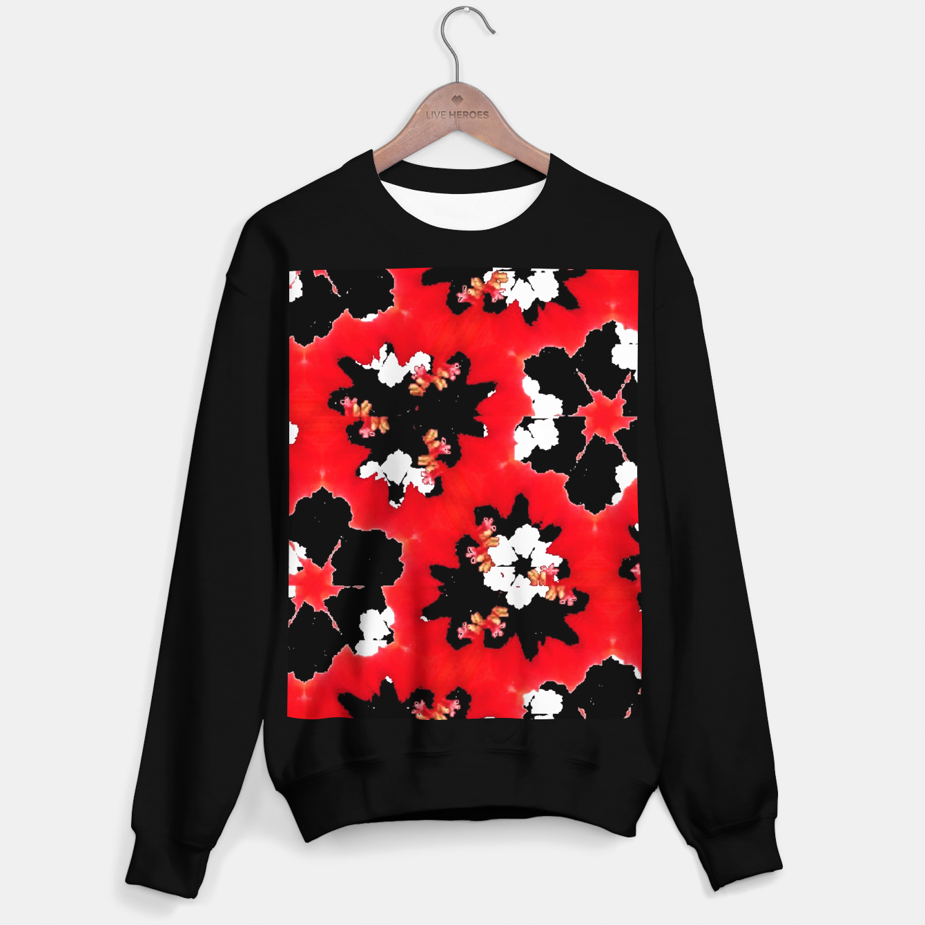 Zdjęcie red pink black and white floral spring pattern Sweater regular - Live Heroes