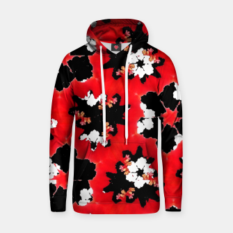 red pink black and white floral spring pattern Hoodie obraz miniatury
