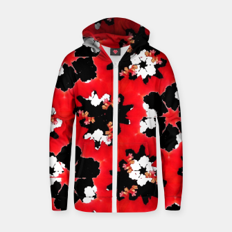 red pink black and white floral spring pattern Zip up hoodie obraz miniatury