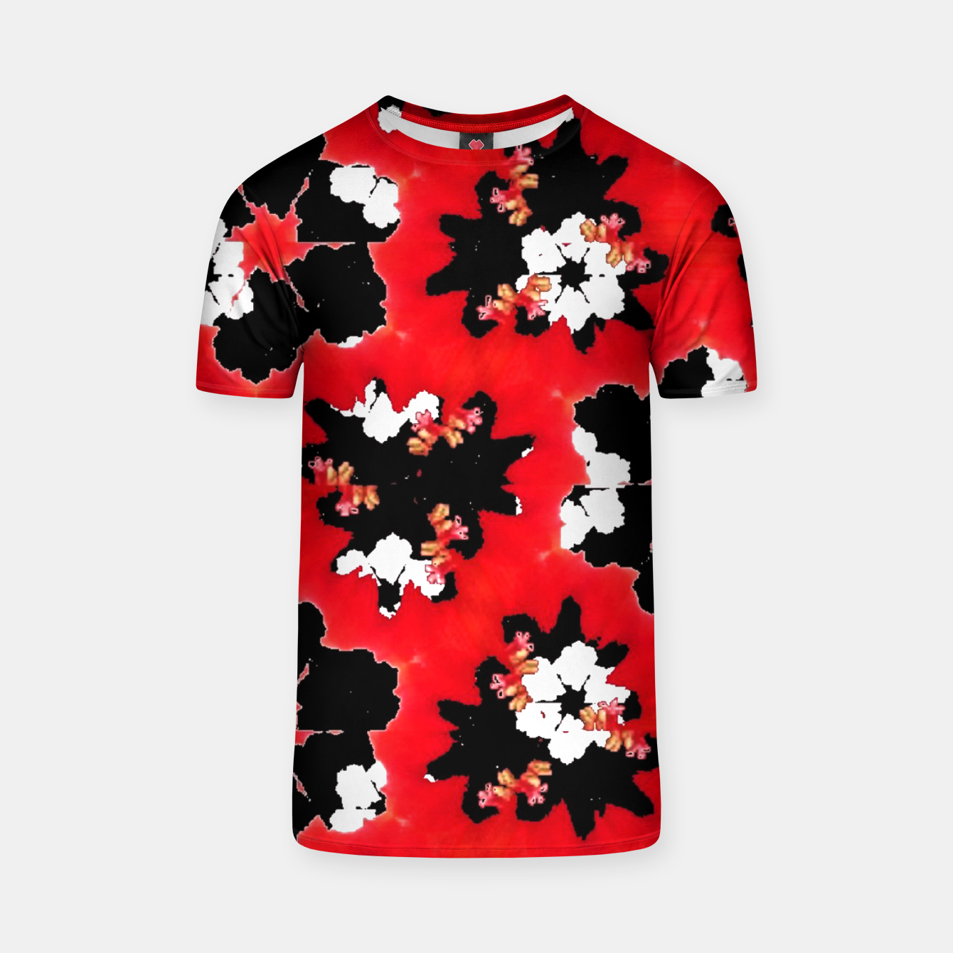 Zdjęcie red pink black and white floral spring pattern T-shirt - Live Heroes