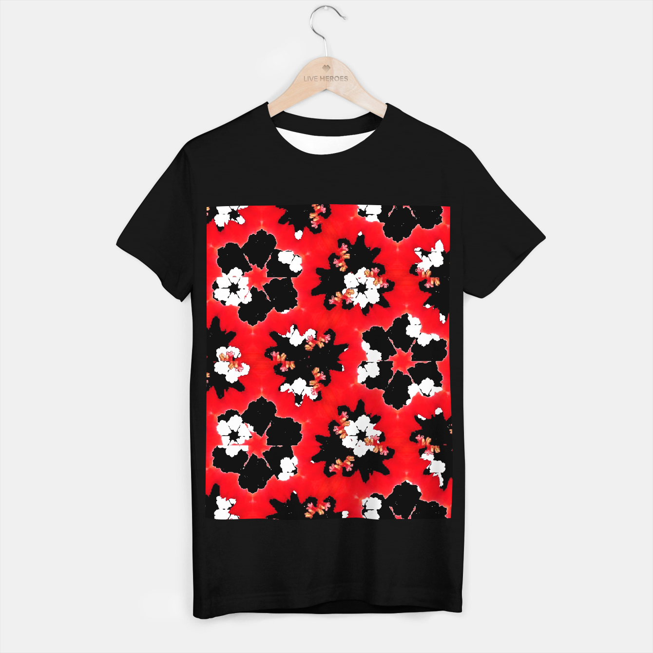 Image de red pink black and white floral spring pattern T-shirt regular - Live Heroes