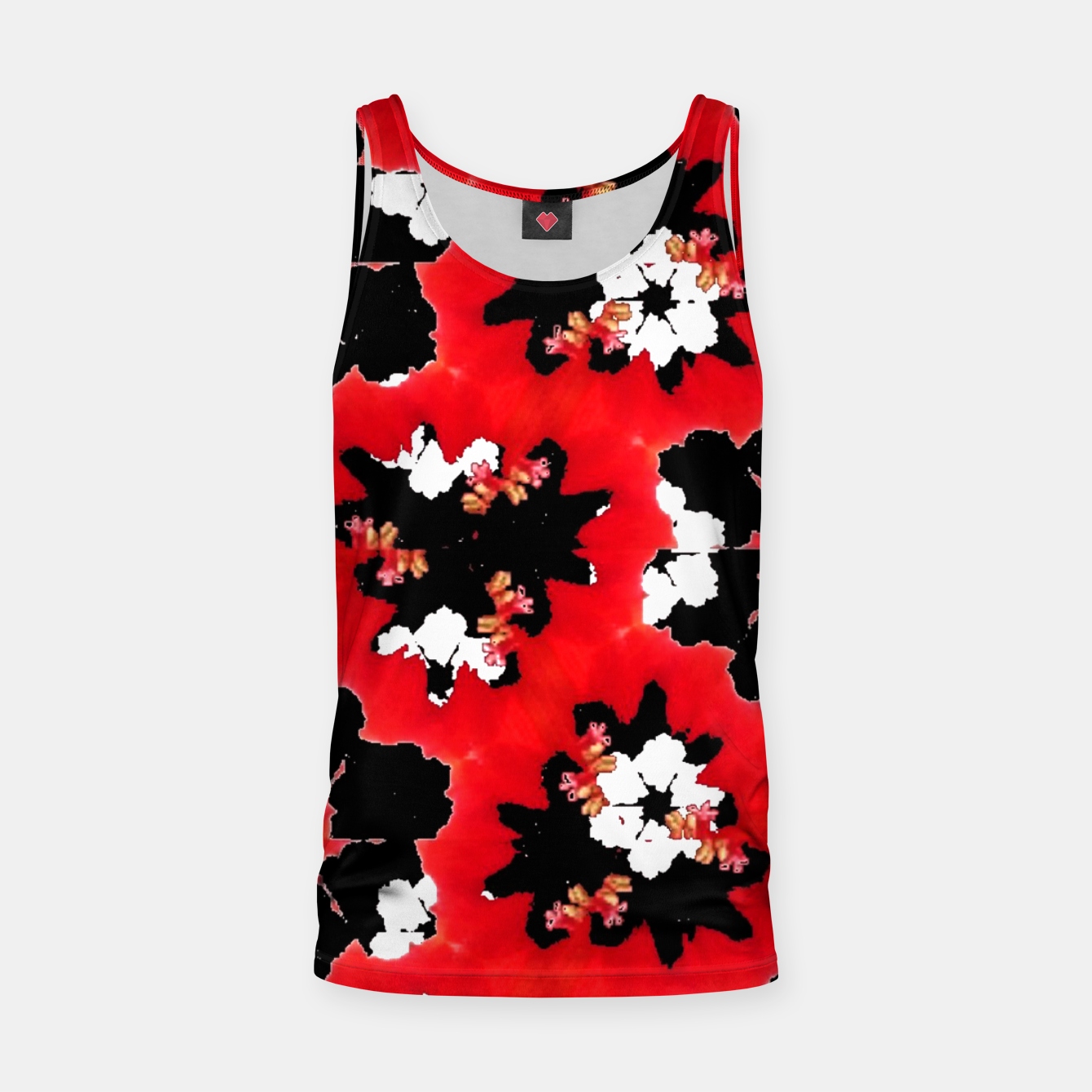 Foto red pink black and white floral spring pattern Tank Top - Live Heroes