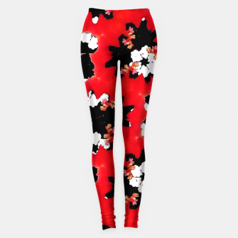 red pink black and white floral spring pattern Leggings obraz miniatury
