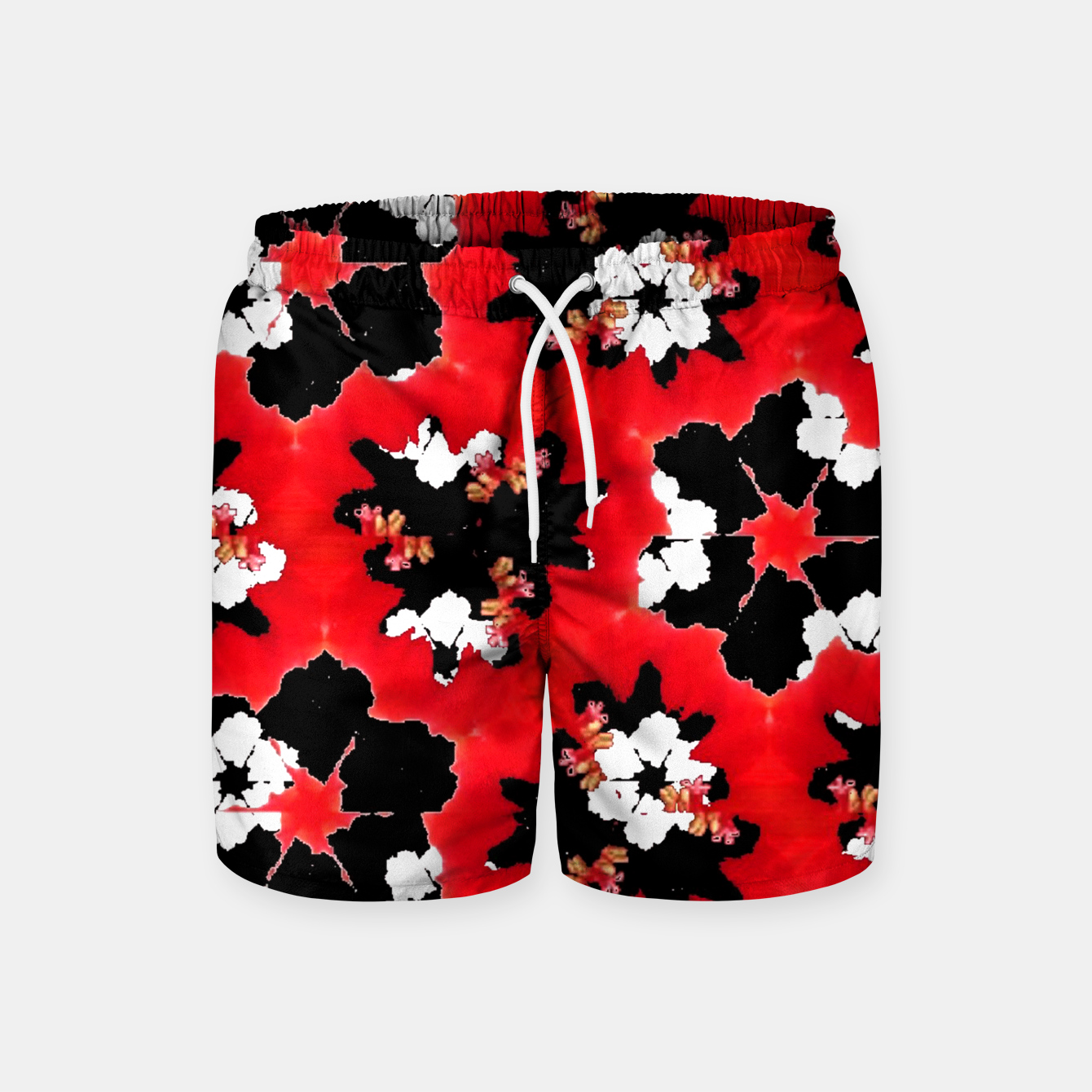Foto red pink black and white floral spring pattern Swim Shorts - Live Heroes