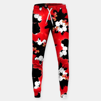 Miniatur red pink black and white floral spring pattern Sweatpants, Live Heroes