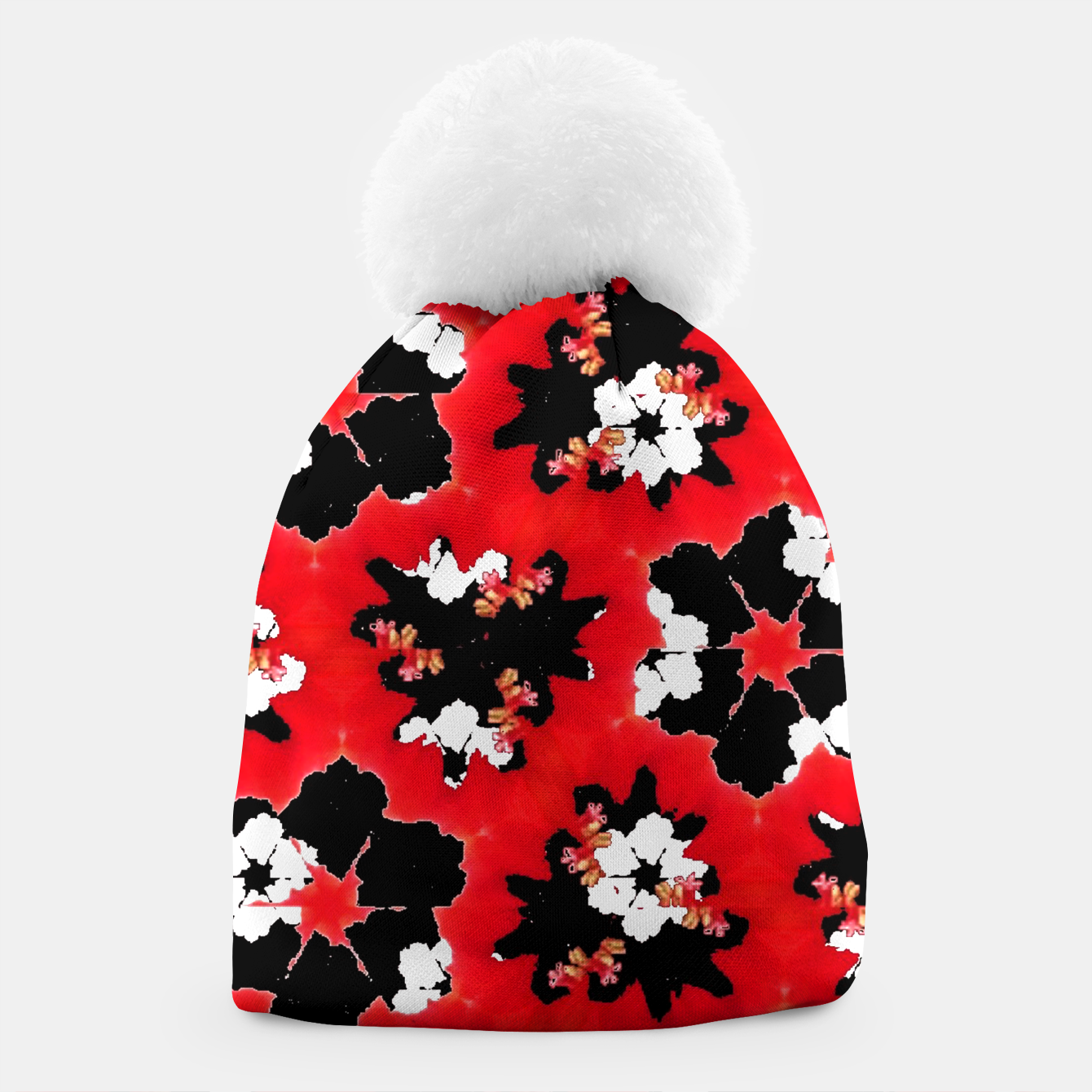 Foto red pink black and white floral spring pattern Beanie - Live Heroes