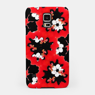 red pink black and white floral spring pattern Samsung Case obraz miniatury