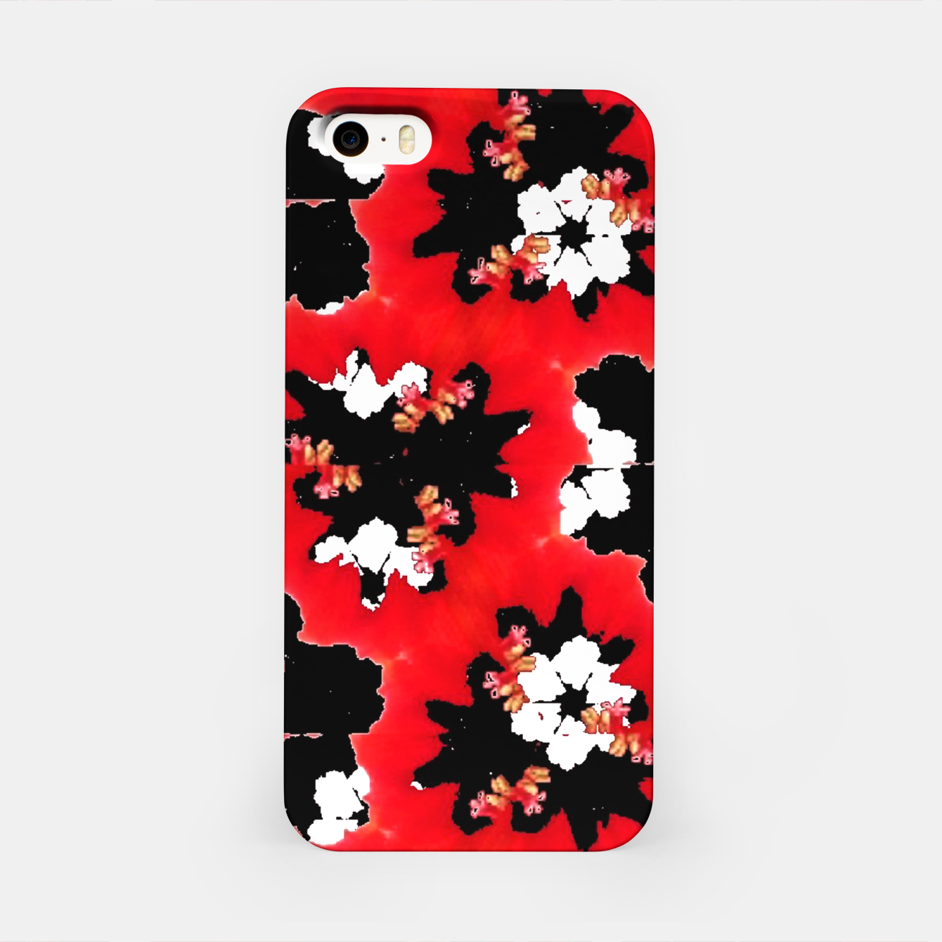 Foto red pink black and white floral spring pattern iPhone Case - Live Heroes