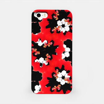 red pink black and white floral spring pattern iPhone Case obraz miniatury