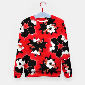 red pink black and white floral spring pattern Kid's sweater obraz miniatury
