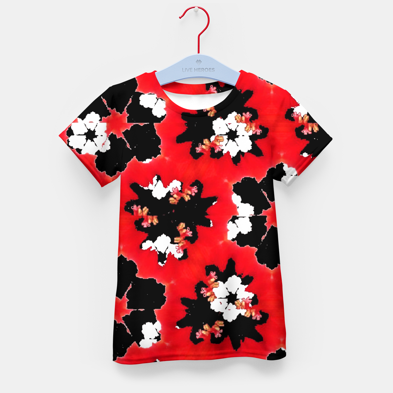 Foto red pink black and white floral spring pattern Kid's t-shirt - Live Heroes
