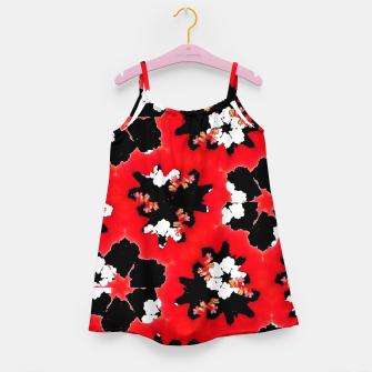 red pink black and white floral spring pattern Girl's dress obraz miniatury
