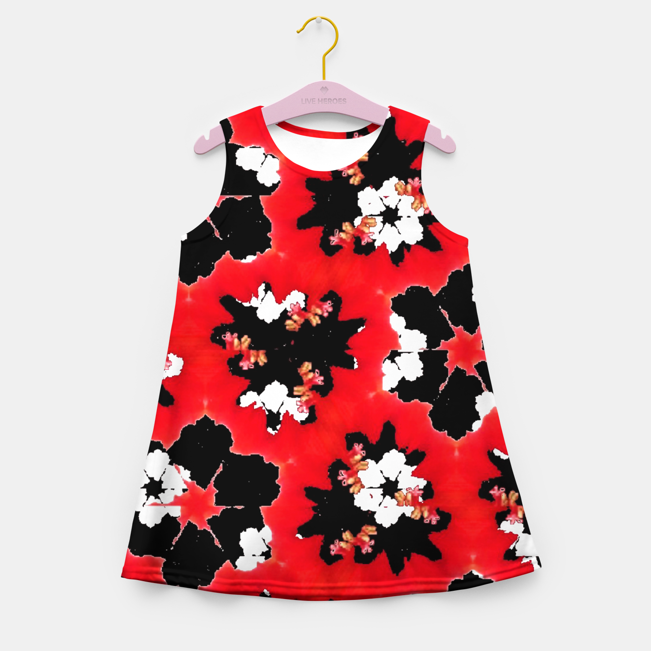 Foto red pink black and white floral spring pattern Girl's summer dress - Live Heroes