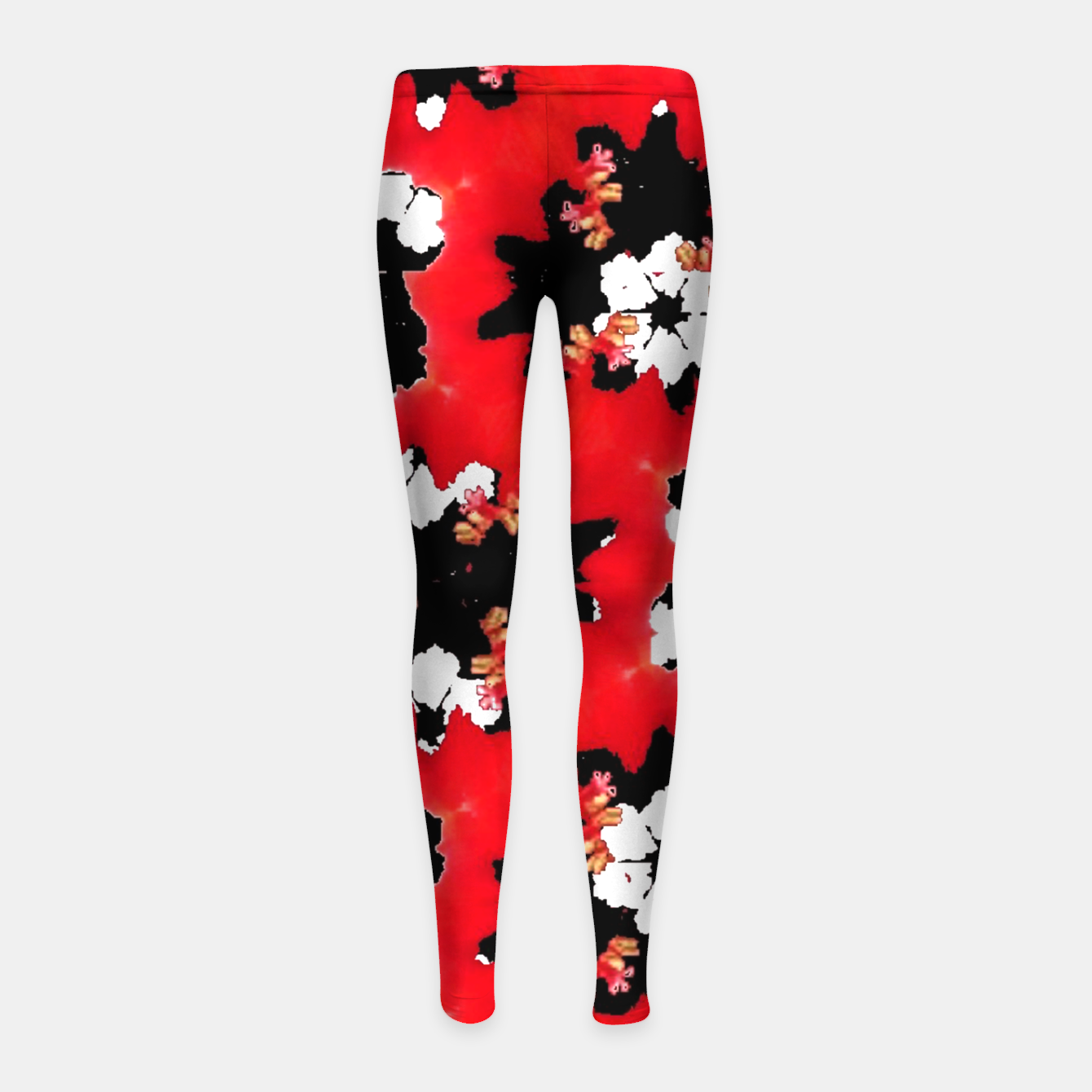 Foto red pink black and white floral spring pattern Girl's leggings - Live Heroes