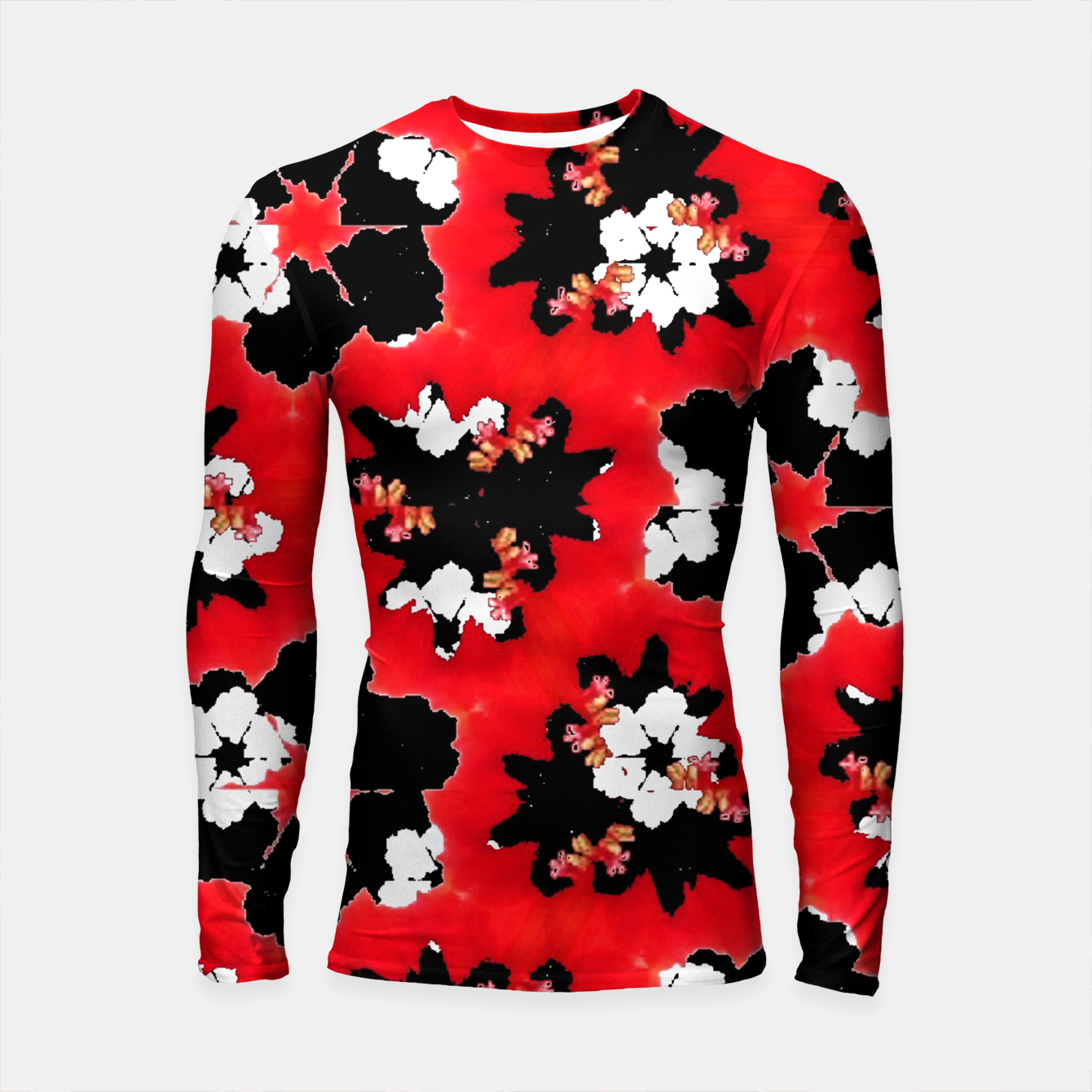 Zdjęcie red pink black and white floral spring pattern Longsleeve rashguard  - Live Heroes