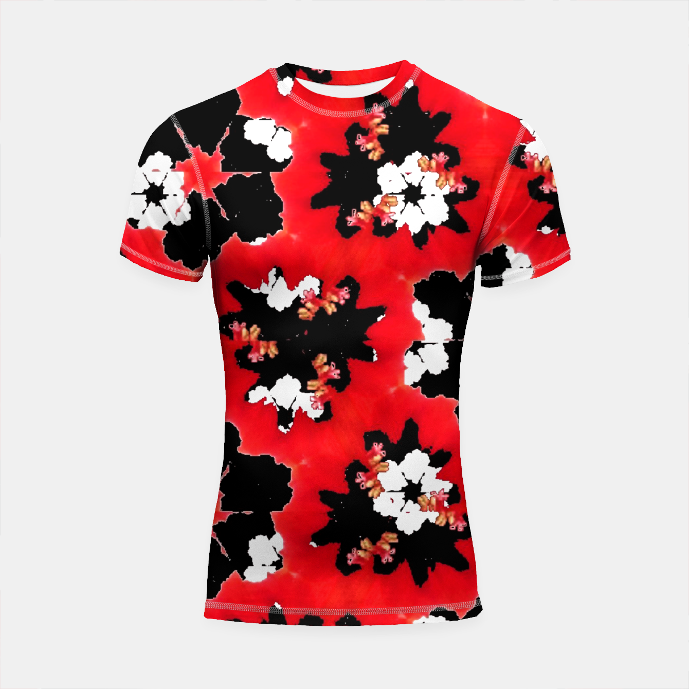 Zdjęcie red pink black and white floral spring pattern Shortsleeve rashguard - Live Heroes