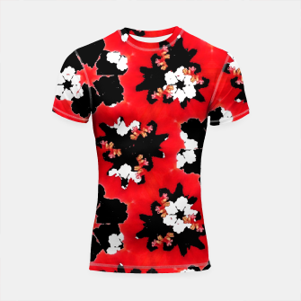 Miniatur red pink black and white floral spring pattern Shortsleeve rashguard, Live Heroes