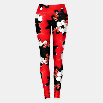 Miniatur red pink black and white floral spring pattern Leggings, Live Heroes