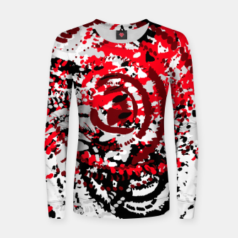 Miniatur red black white silver grey abstract digital art Women sweater, Live Heroes