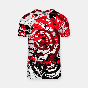 Miniatur red black white silver grey abstract digital art T-shirt, Live Heroes