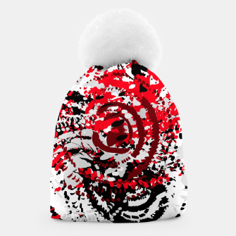 Miniatur red black white silver grey abstract digital art Beanie, Live Heroes