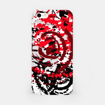 Miniatur red black white silver grey abstract digital art iPhone Case, Live Heroes