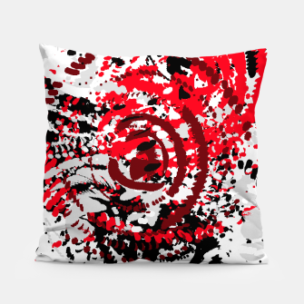 Thumbnail image of red black white silver grey abstract digital art Pillow, Live Heroes