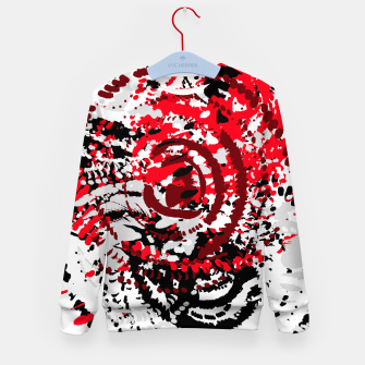 Thumbnail image of red black white silver grey abstract digital art Kid's sweater, Live Heroes
