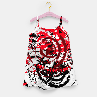 Thumbnail image of red black white silver grey abstract digital art Girl's dress, Live Heroes