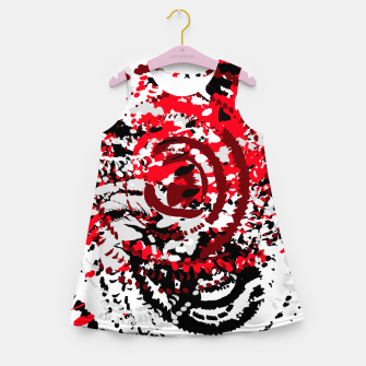 Thumbnail image of red black white silver grey abstract digital art Girl's summer dress, Live Heroes