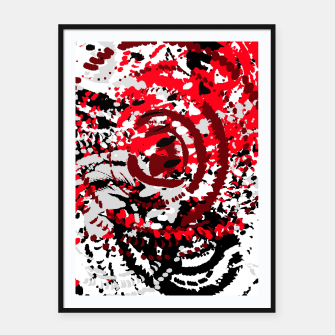Thumbnail image of red black white silver grey abstract digital art Framed poster, Live Heroes