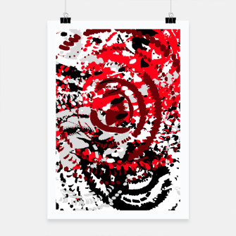 Thumbnail image of red black white silver grey abstract digital art Poster, Live Heroes