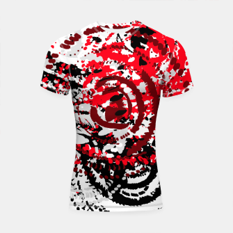Thumbnail image of red black white silver grey abstract digital art Shortsleeve rashguard, Live Heroes