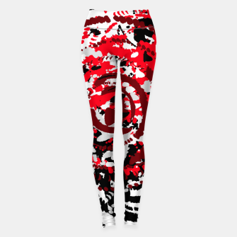 Thumbnail image of red black white silver grey abstract digital art Leggings, Live Heroes