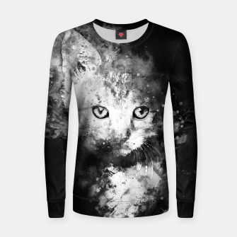 Thumbnail image of abstract young cat wsbw Women sweater, Live Heroes