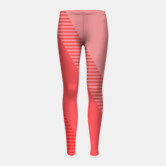 Thumbnail image of coral pink mountains abstract minimal geometric art Girl's leggings, Live Heroes