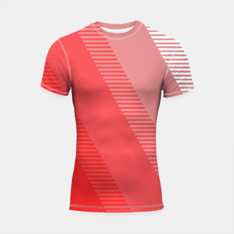 Thumbnail image of coral pink mountains abstract minimal geometric art Shortsleeve rashguard, Live Heroes